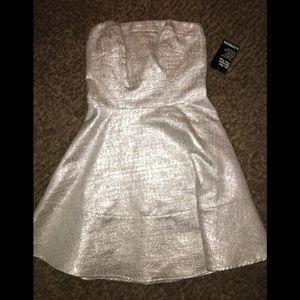 White/silver strapless dress